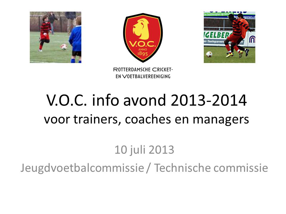 V.O.C. info avond voor trainers, coaches en managers