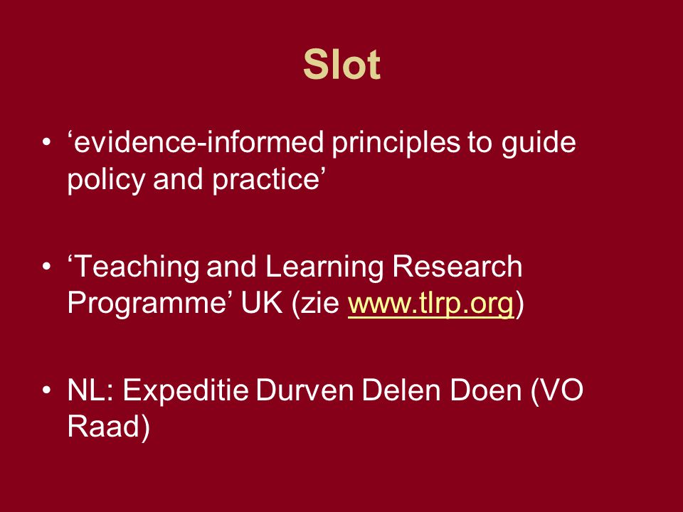 Slot 'evidence-informed principles to guide policy and practice'