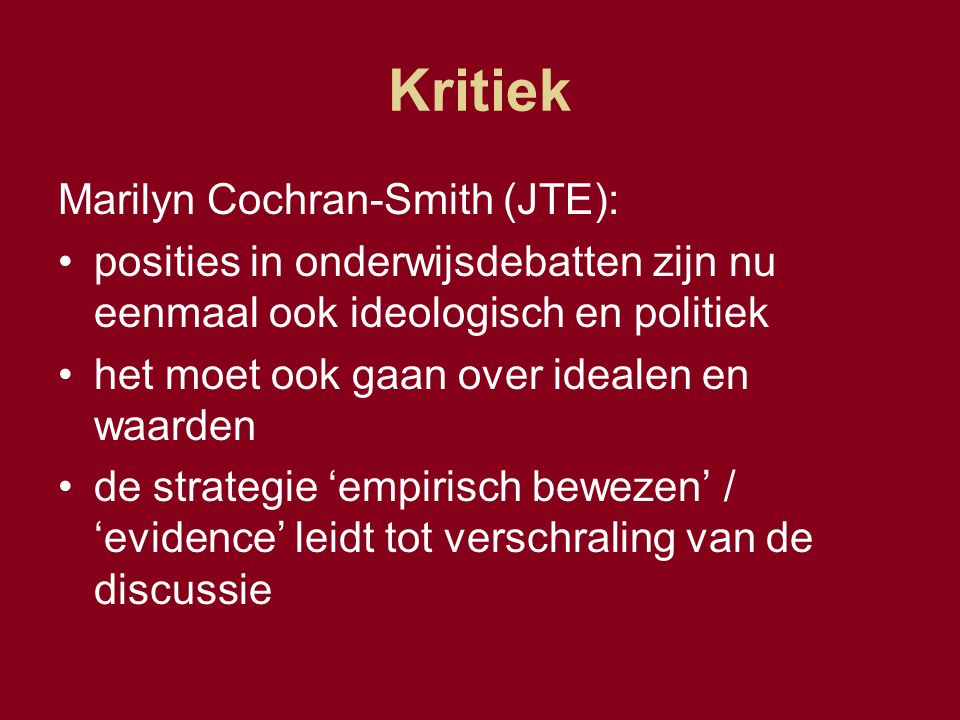 Kritiek Marilyn Cochran-Smith (JTE):