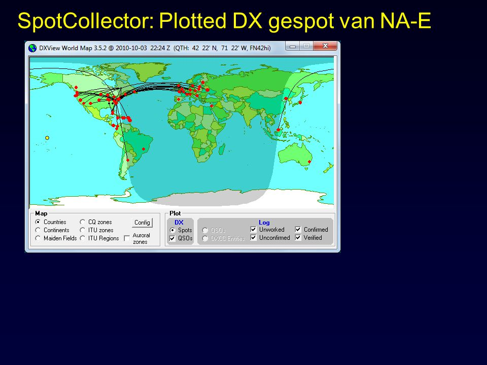 SpotCollector: Plotted DX gespot van NA-E
