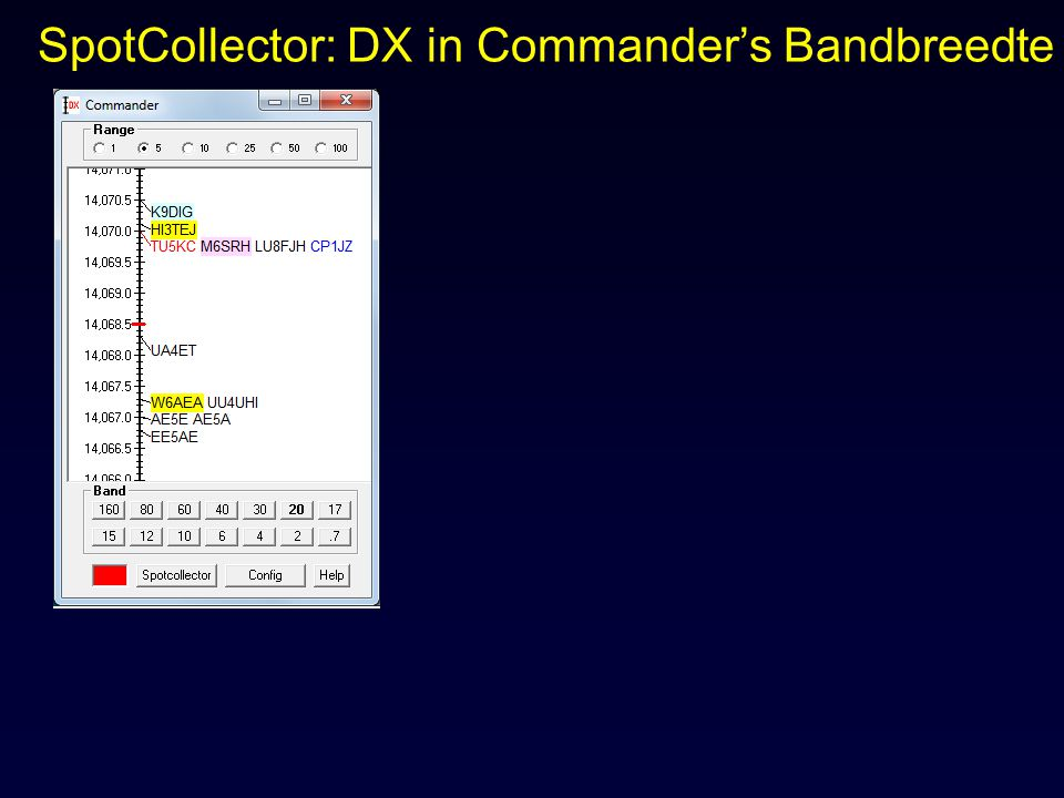 SpotCollector: DX in Commander's Bandbreedte