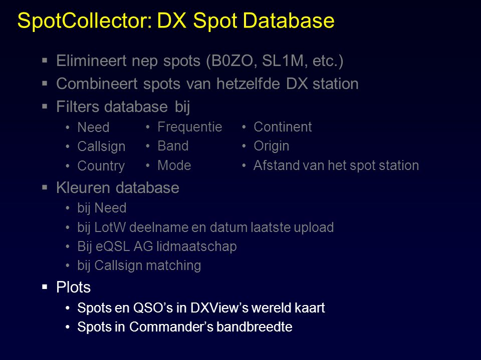 SpotCollector: DX Spot Database