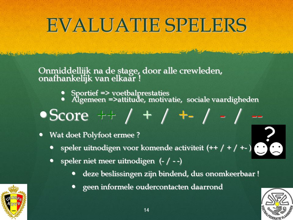 EVALUATIE SPELERS Score ++ / + / +- / - / --