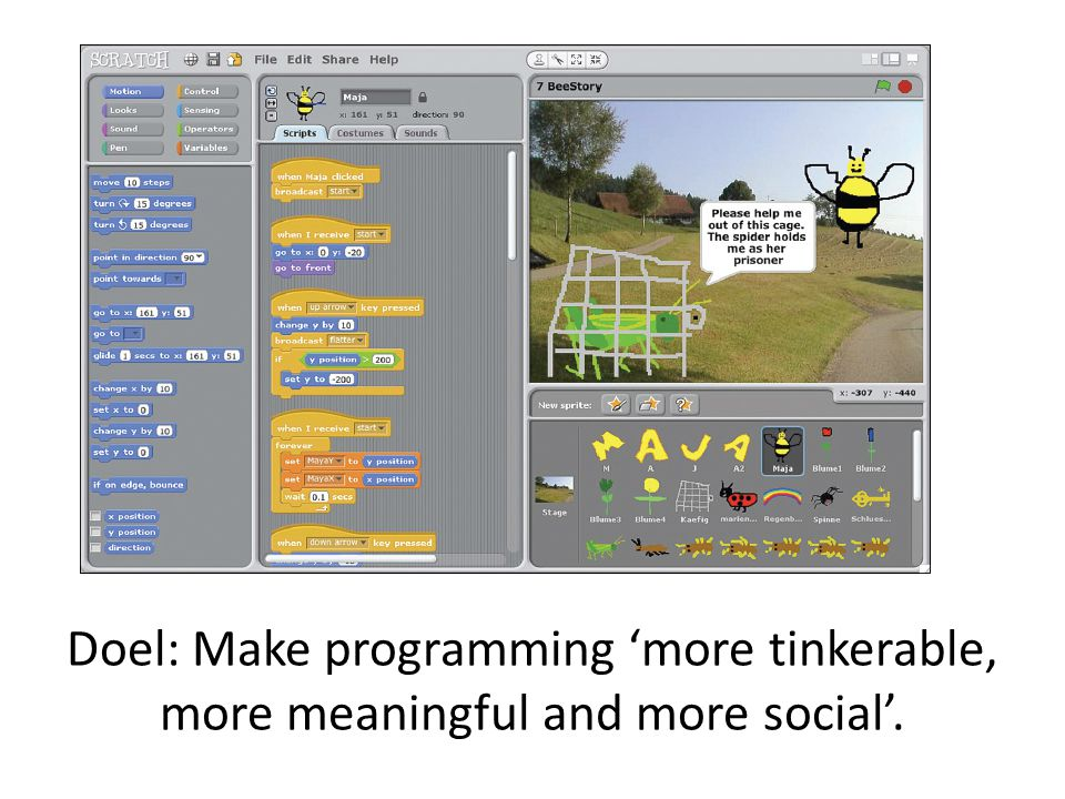 Doel: Make programming 'more tinkerable, more meaningful and more social'.
