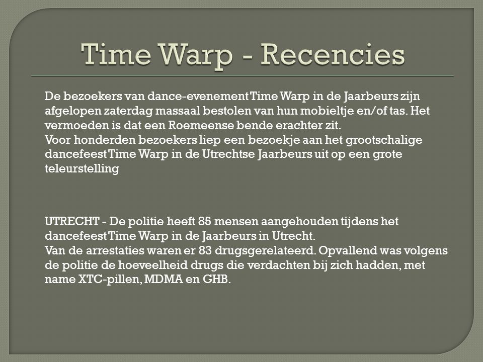 Time Warp - Recencies