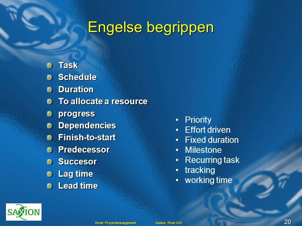 Engelse begrippen Task Schedule Duration To allocate a resource