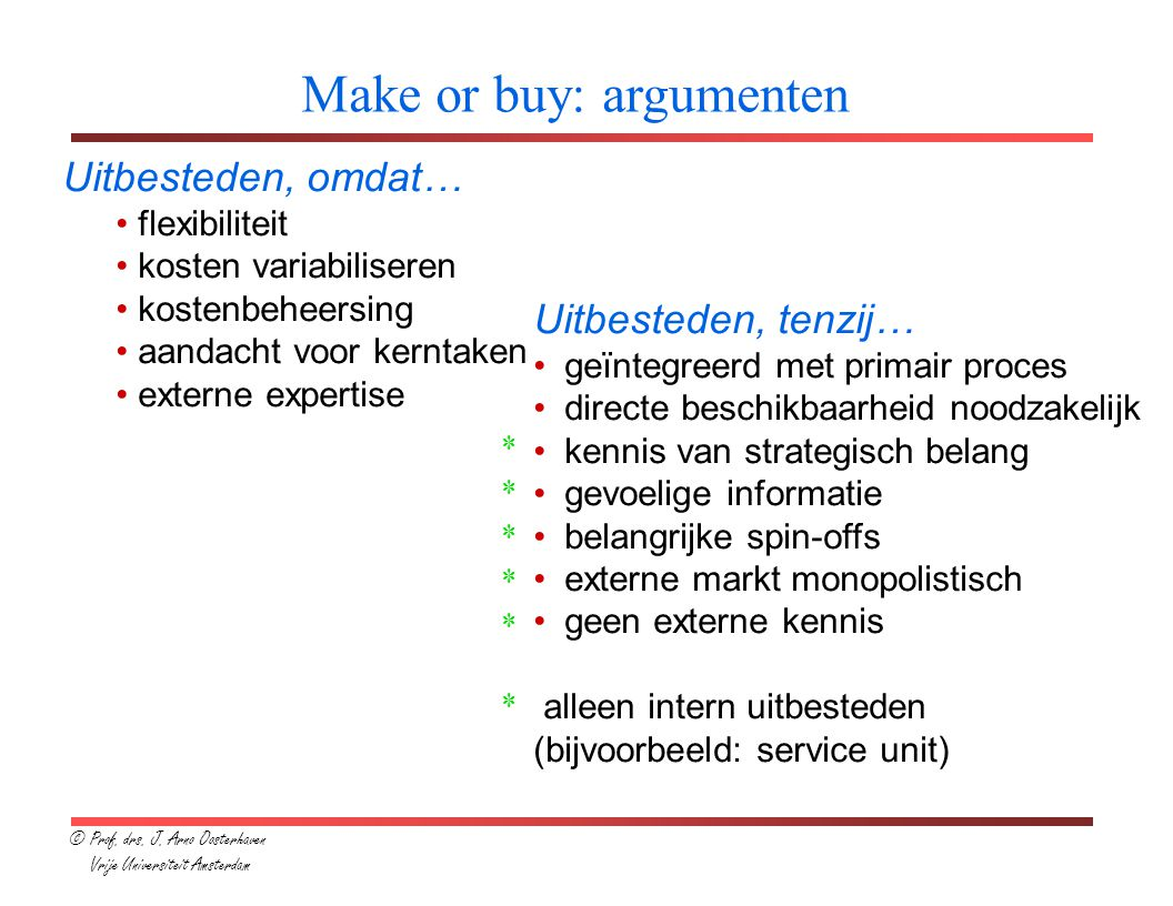 Make or buy: argumenten