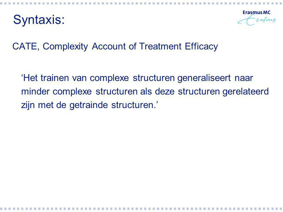 Syntaxis: CATE, Complexity Account of Treatment Efficacy