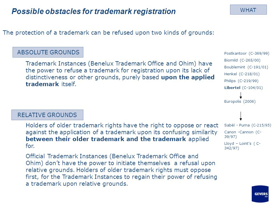 Possible obstacles for trademark registration