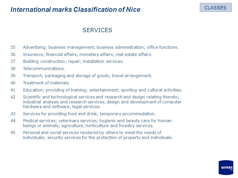 International marks Classification of Nice