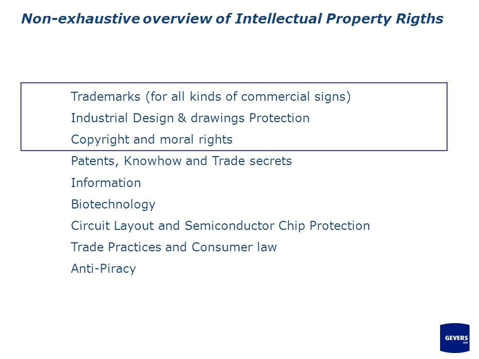Non-exhaustive overview of Intellectual Property Rigths