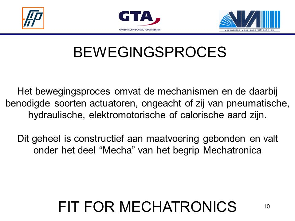 BEWEGINGSPROCES FIT FOR MECHATRONICS