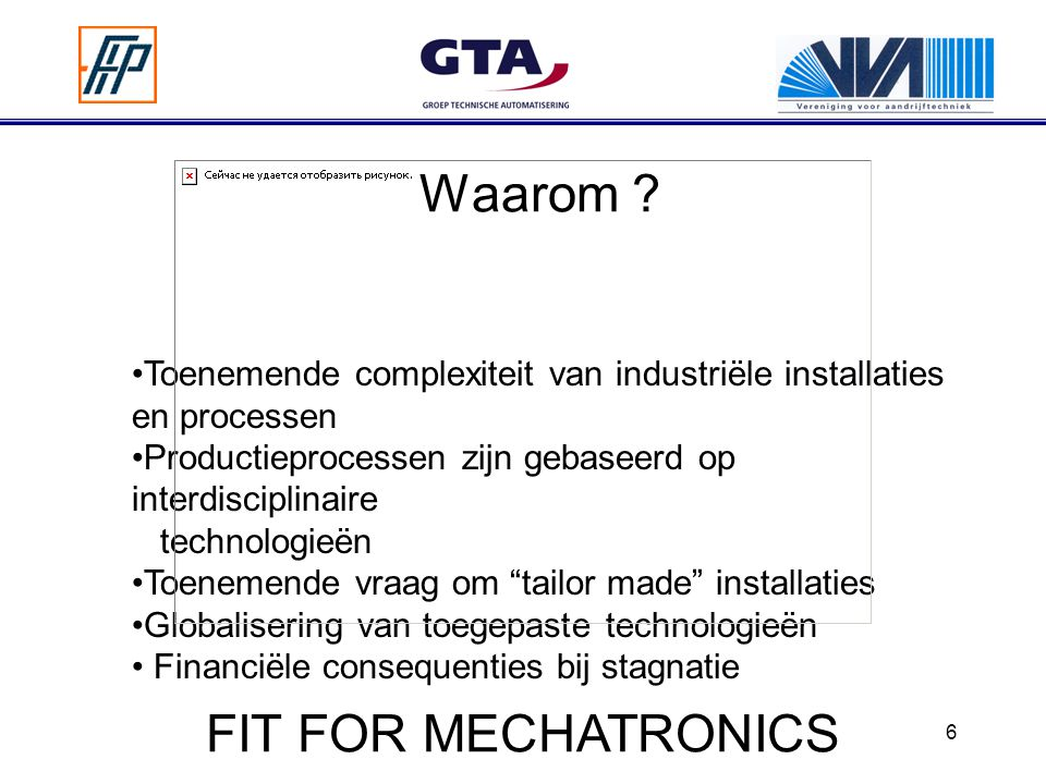 Waarom FIT FOR MECHATRONICS