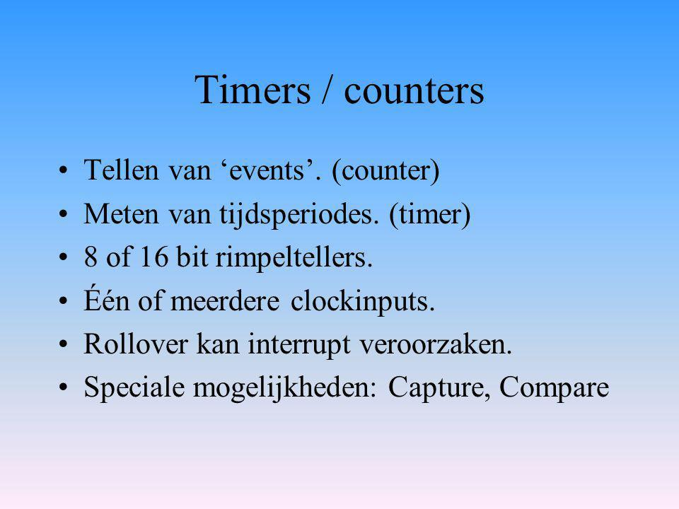 Timers / counters Tellen van 'events'. (counter)