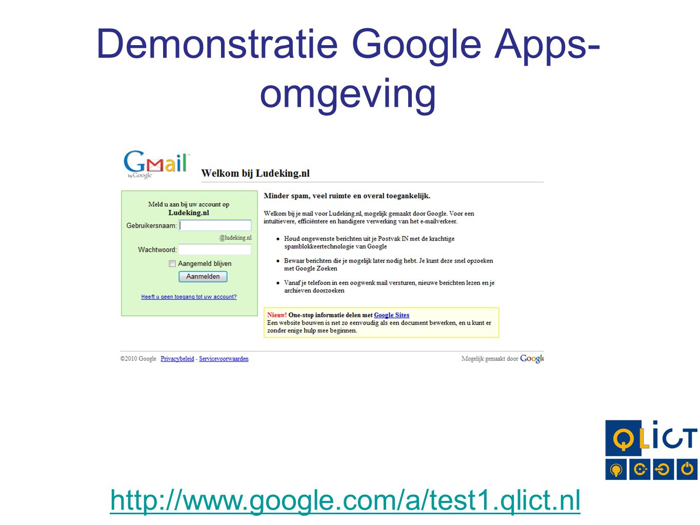 Demonstratie Google Apps-omgeving