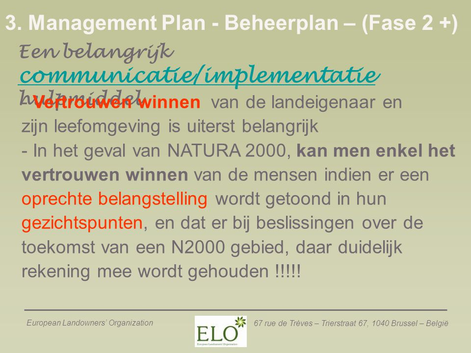 3. Management Plan - Beheerplan – (Fase 2 +)