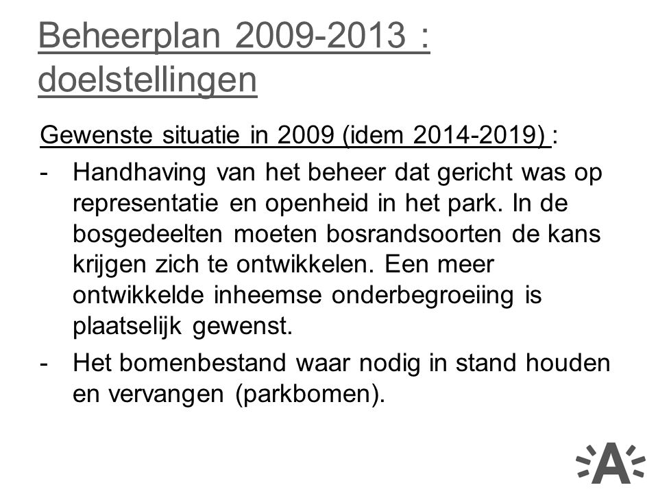 Beheerplan 2009-2013 : doelstellingen