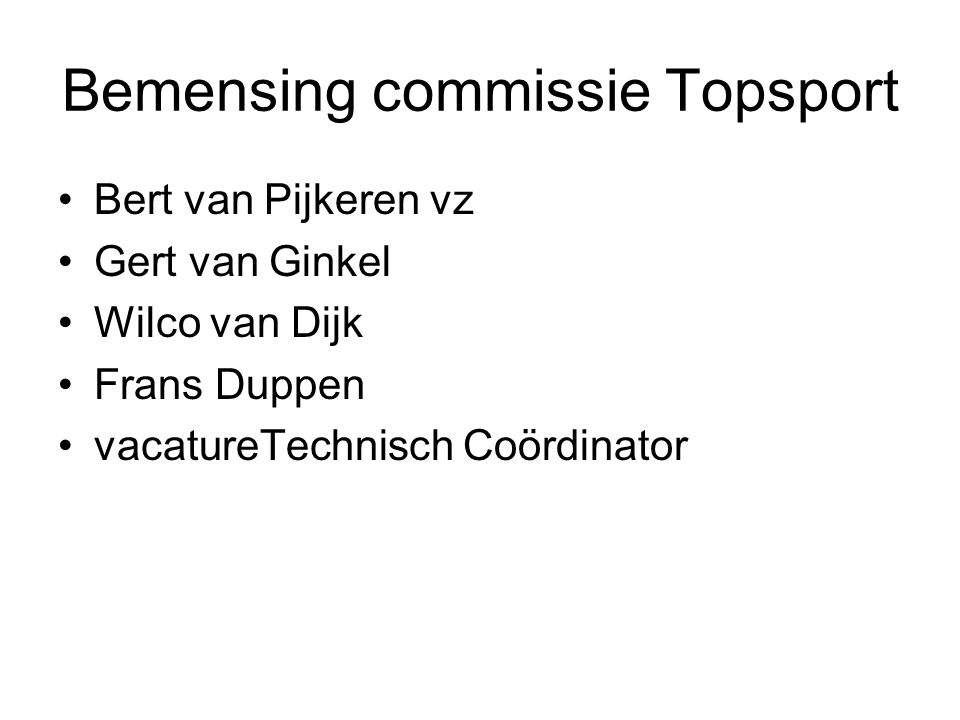 Bemensing commissie Topsport