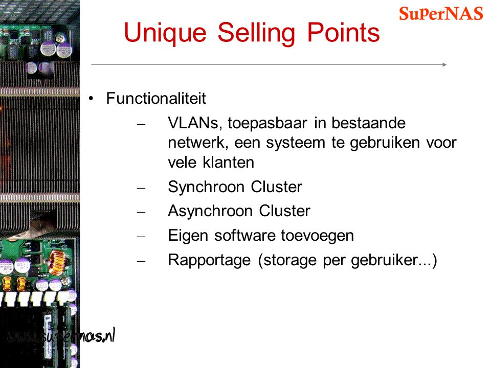 Unique Selling Points Functionaliteit