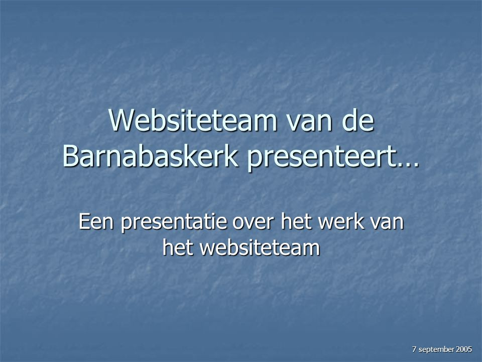 Websiteteam van de Barnabaskerk presenteert…