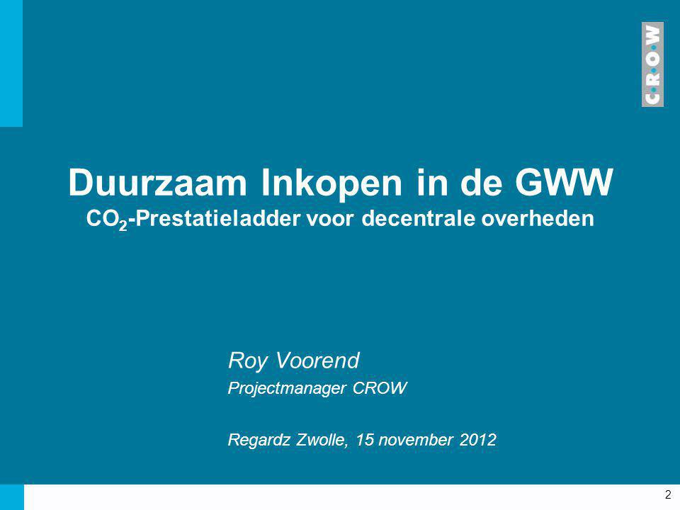 Roy Voorend Projectmanager CROW Regardz Zwolle, 15 november 2012