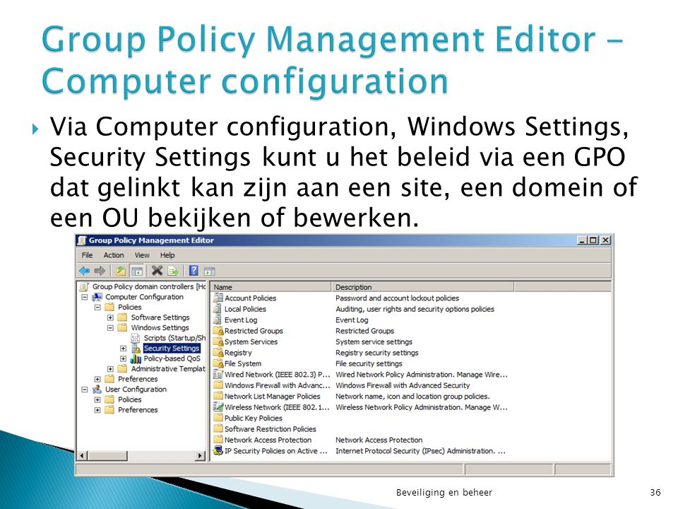 Group Policy Management Editor - Computer configuration