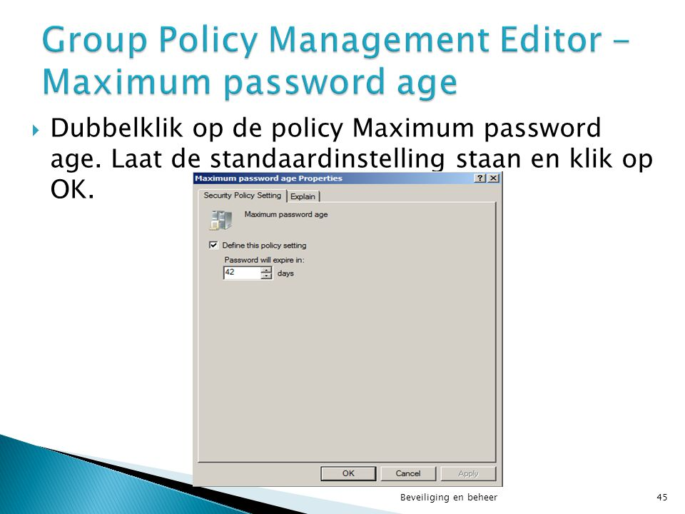 Group Policy Management Editor - Maximum password age