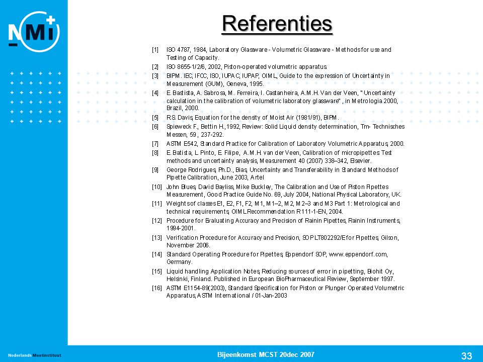 Referenties Bijeenkomst MCST 20dec 2007