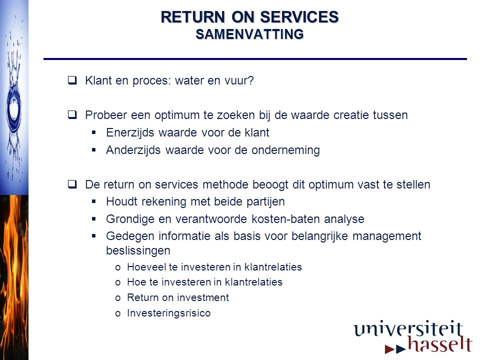 RETURN ON SERVICES SAMENVATTING