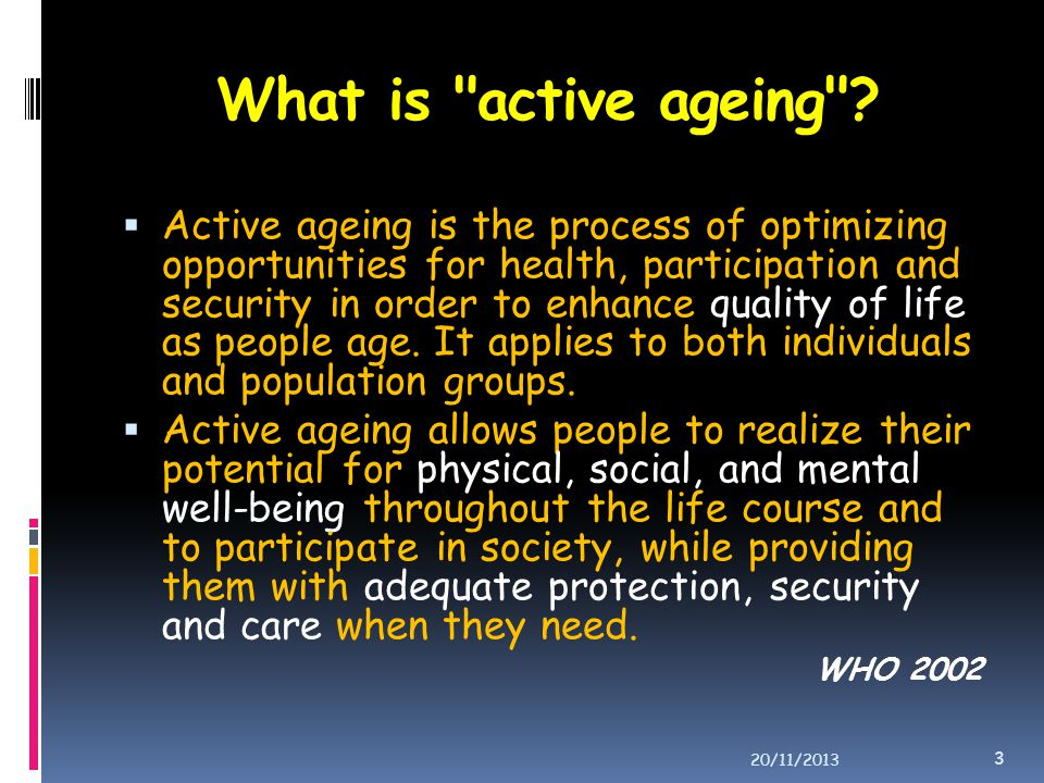 What is active ageing