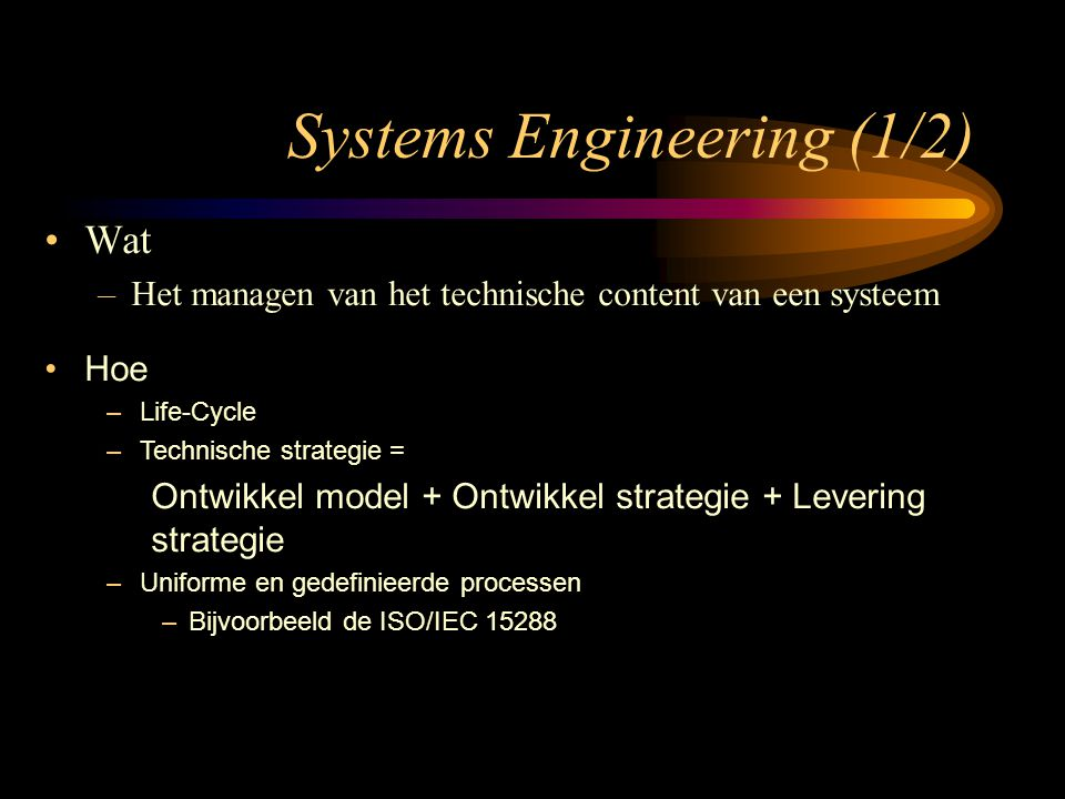 Systems Engineering (1/2)