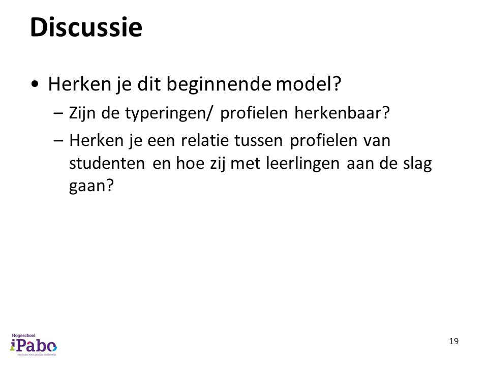 Discussie Herken je dit beginnende model