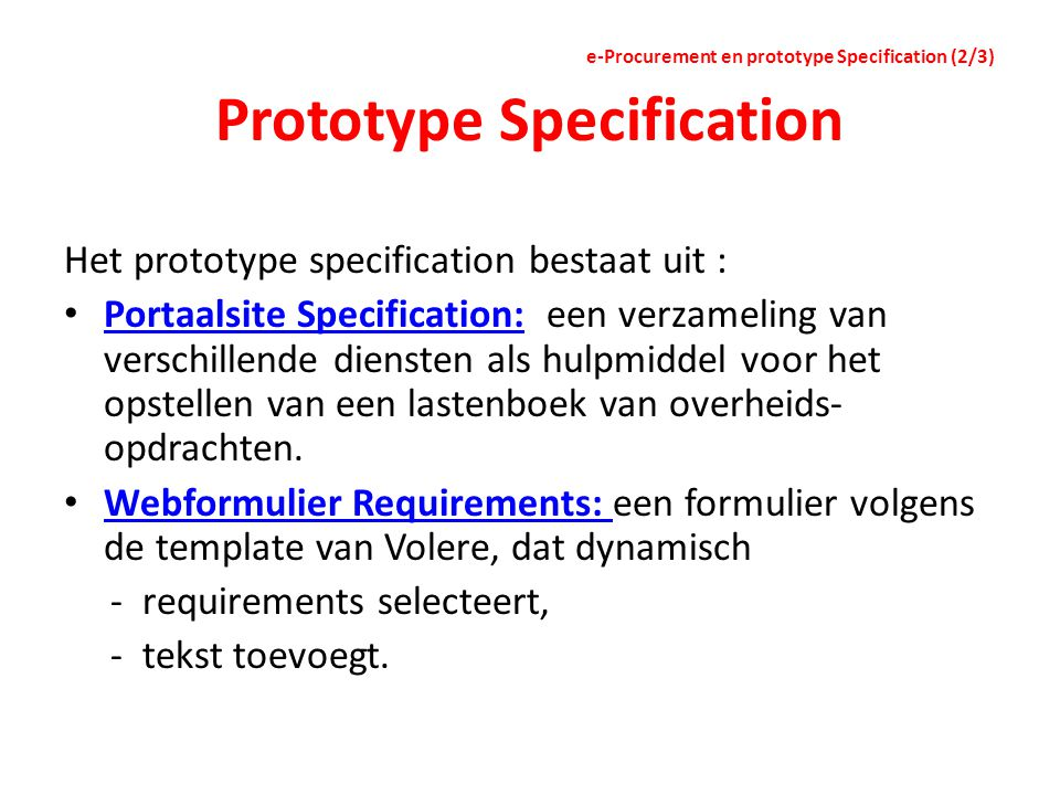 Prototype Specification