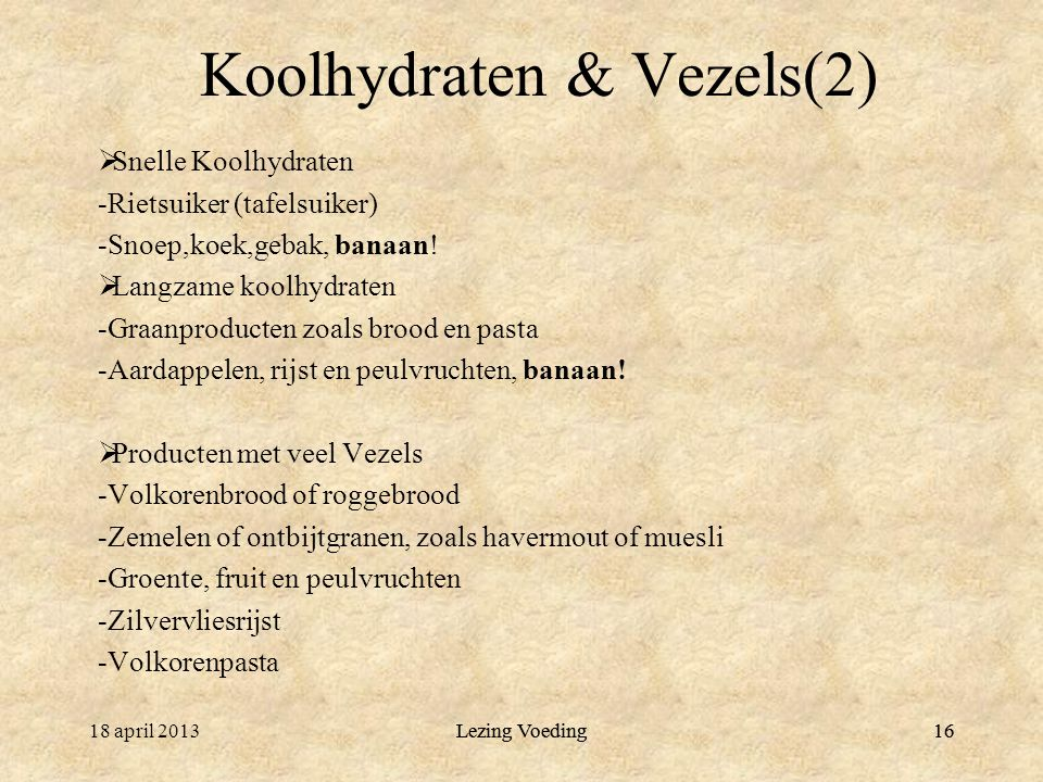 Koolhydraten & Vezels(2)