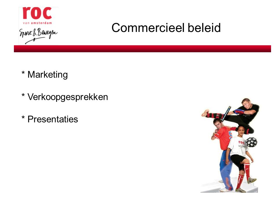 Commercieel beleid * Marketing * Verkoopgesprekken * Presentaties