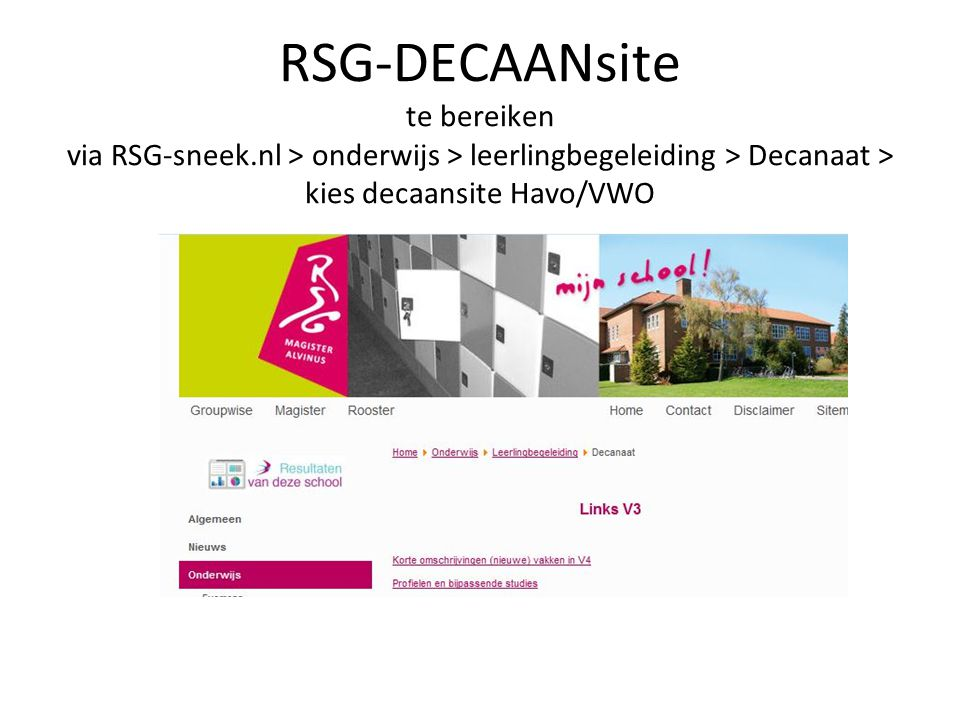 RSG-DECAANsite te bereiken via RSG-sneek