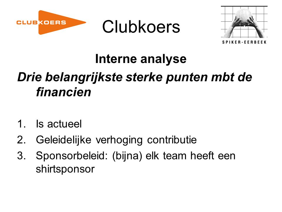 Clubkoers Interne analyse