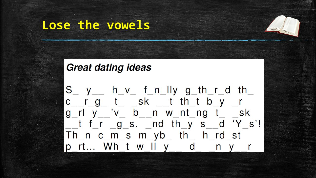 Lose the vowels