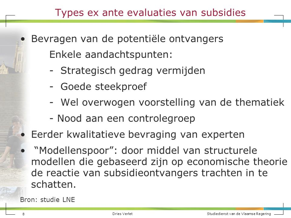 Types ex ante evaluaties van subsidies