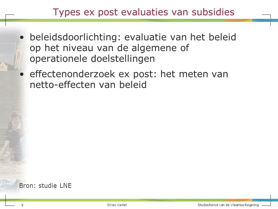 Types ex post evaluaties van subsidies