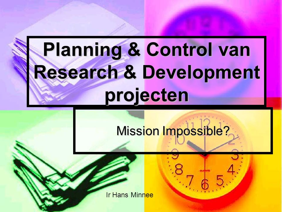 Planning & Control van Research & Development projecten