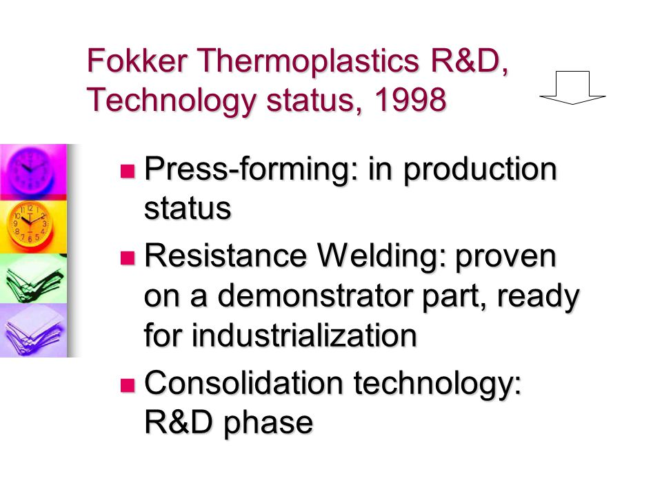 Fokker Thermoplastics R&D, Technology status, 1998