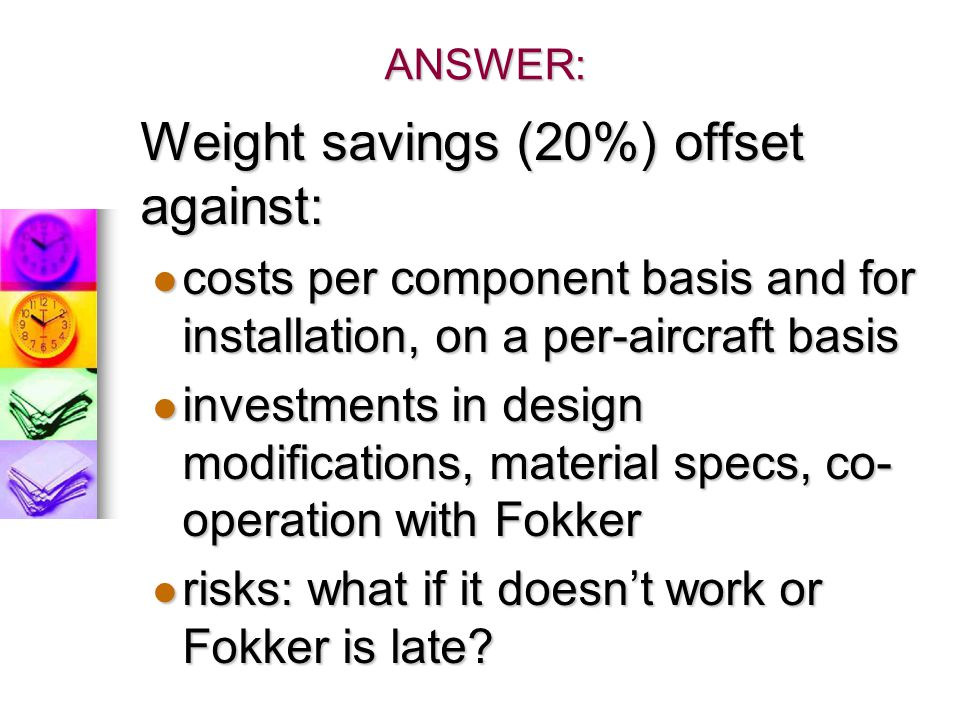 Weight savings (20%) offset against: