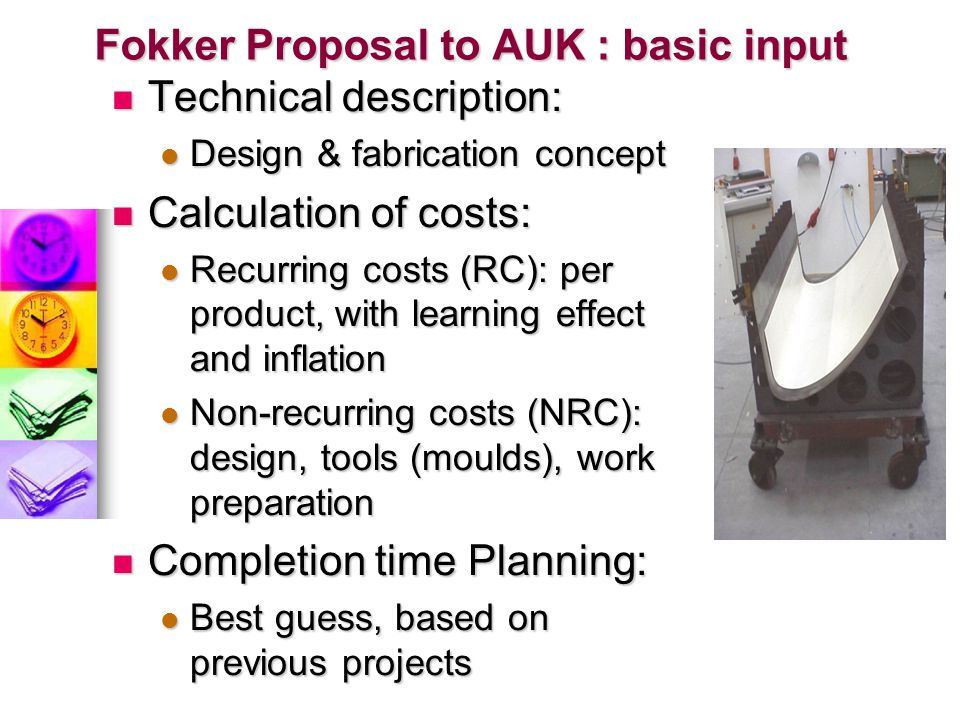 Fokker Proposal to AUK : basic input