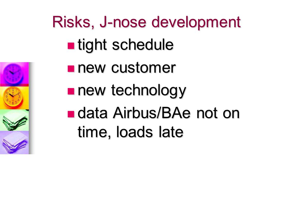 Risks, J-nose development