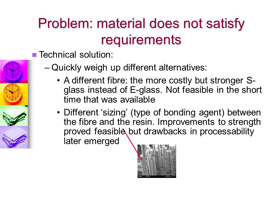 Problem: material does not satisfy requirements
