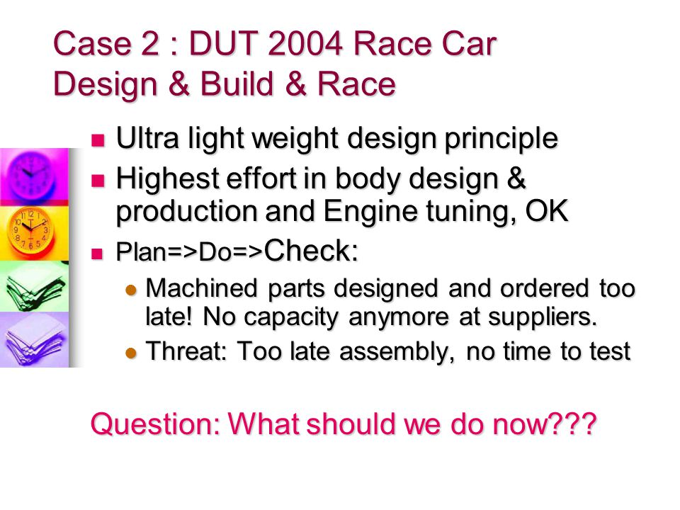 Case 2 : DUT 2004 Race Car Design & Build & Race