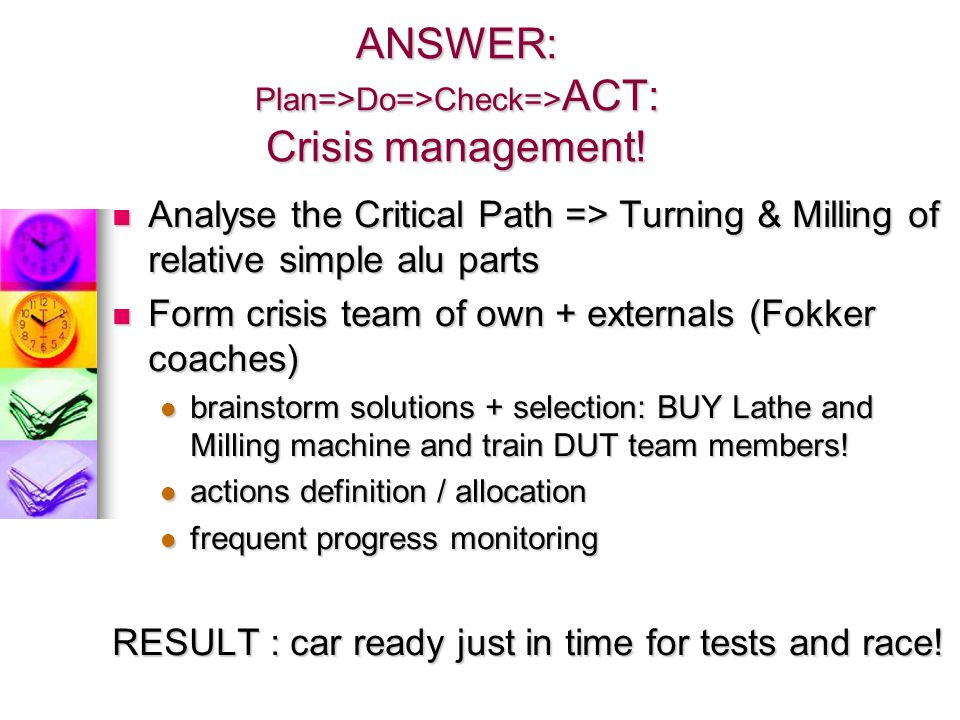 ANSWER: Plan=>Do=>Check=>ACT: Crisis management!