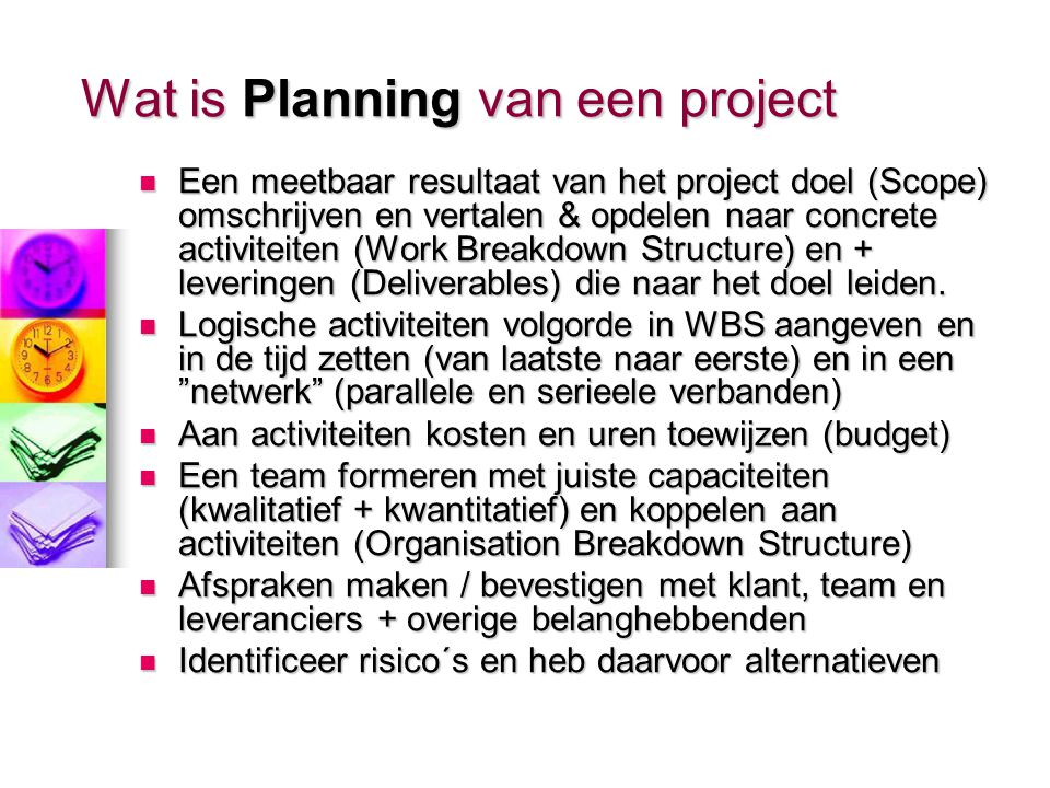 Wat is Planning van een project