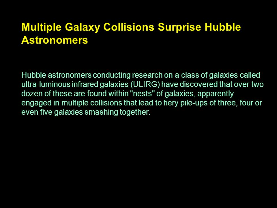 Multiple Galaxy Collisions Surprise Hubble Astronomers